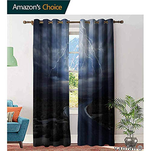 Big datastore Extra Long/Short Drapes and Curtains,NatureThunderstorm Over Road Vibrant Strong Beam Before The Sky Blows Weather Image,Custom Available,Dark Blue Grey,W96 xL84