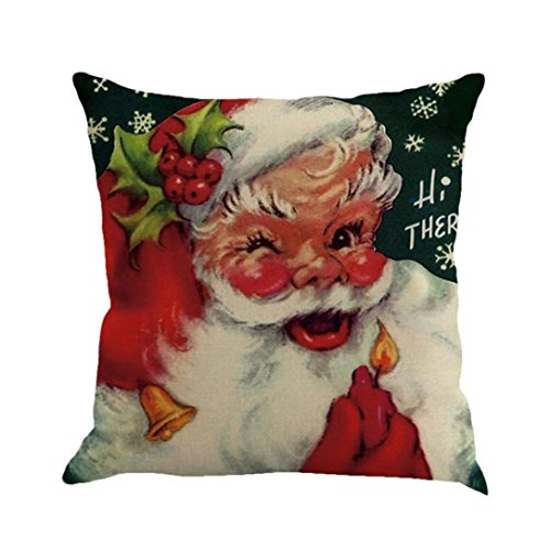 Goddessvan 1818 Inch Christmas Printing Dyeing Flax Pillow Cover Sofa Bed Home Decor Cushion Cover