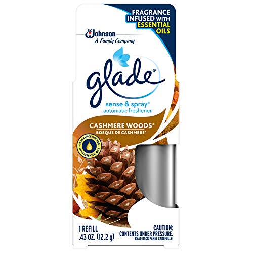 (Glade Sense & Spray Cashmere Woods Refill, Fits in Holder Equipped With Motion Sensor for Automatic Freshness, Brown, 0.43 oz)