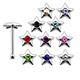 20 Pieces Mix Color Jeweled Pendagon Star 925 Sterling Silver Nose Pin Ball End 20Gx1/4 (0.8x6MM). Pack in Acrylic Box.