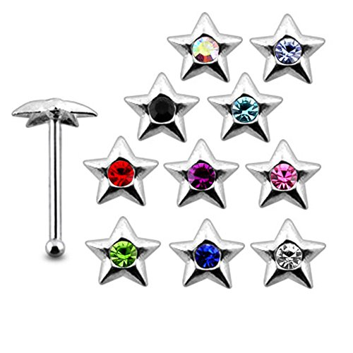 20 Pieces Mix Color Jeweled Pendagon Star 925 Sterling Silver Nose Pin Ball End 20Gx1/4 (0.8x6MM). Pack in Acrylic Box. by Nose Studs