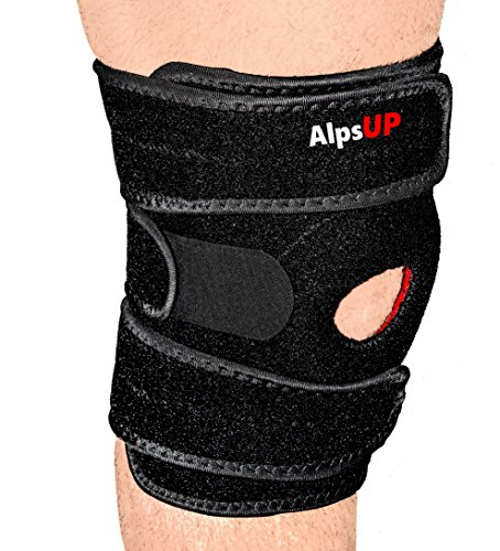 AlpsUP Knee Brace Support Open Patella One Size Fits Most, Relieves ACL LCL MCL Arthritis, Meniscus Tear, Best Non-Slip Tech, Comfort Fit, 3 Adjustable Straps, Breathable Neoprene, 4 Side Stabilizers