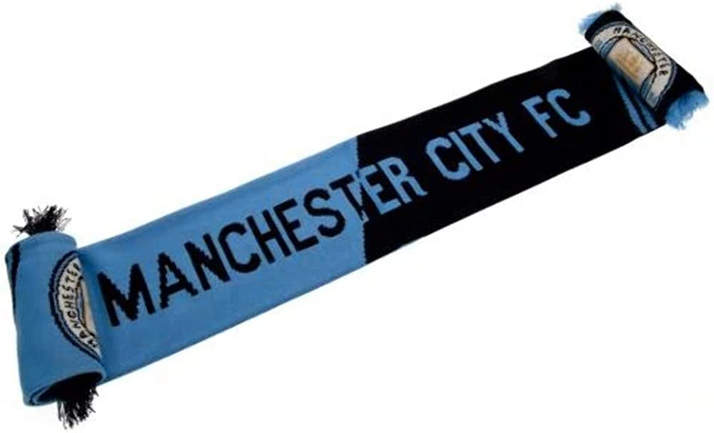 Mens Boys Womens Blue White Stripe wool Scarf Football Manchester City Scarves