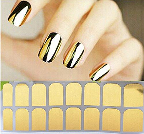 1 BLATT Nail Art polnischen Metallfolie Sticker Aufkleber Aufnäher Wraps Tipps Vollständige Nail Tips Dekoration