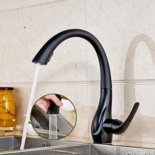 プルアウトキッチン蛇口シャワーは、シンクミキサーは、キッチン360°圧力黒台所蛇口タップ