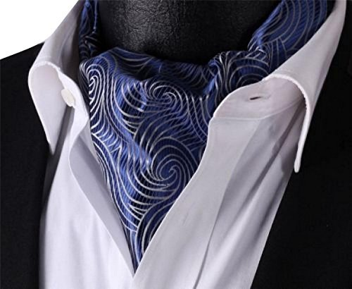 Silk Ascot (Elfeves Men's Navy Blue Floral 100% Silk Jacquard Woven Self Cravat Tie Ascot)
