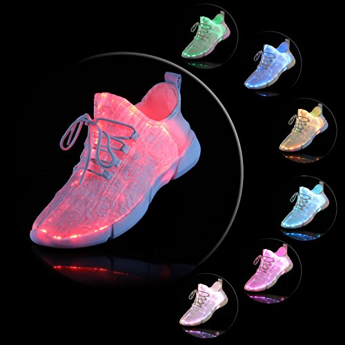 Schuhe Leuchten 4 Lightweight LED für Optical Männer 7 Sneaker Wiederaufladbare USB Fiber Schuhe Schuhe LED Super Frauen und Farben Mods A P5nq60
