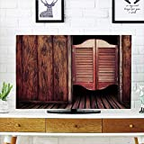 LCD TV Cover Lovely,Western,Old Vintage Rustic Wild West Theme Swinging Cowboy Bar Saloon Door Picture,Brown and Peru,Diversified Design Compatible 60'' TV