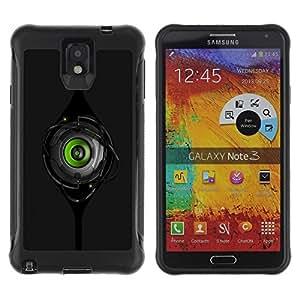 Suave TPU GEL Carcasa Funda Silicona Blando Estuche Caso de protección (para) Samsung Note 3 / CECELL Phone case / / Green Robot Eye /