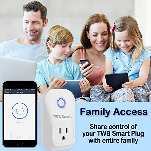 TWB Smart Wi-Fi Smart Plug, Compatible with Alexa and Works with Google Home. Smart Home Electrical Outlet Timer Compatible with Amazon Echo Dot Accessories. For Home Automation (2-Pack) by TWB Smart (Image #4)