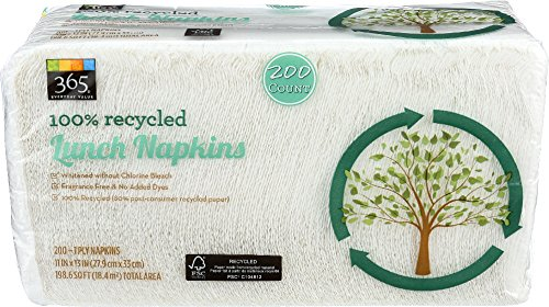 365 Everyday Value, 100% Recycled Lunch Napkins, 200 ct