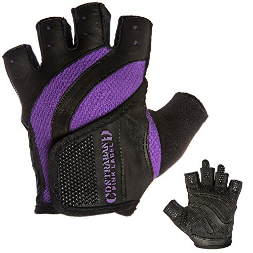 Contraband Pink Label 5437 EXTREME Grip Weight Lifting Gloves w/Rubber Padded Palm (Purple, Small) ()