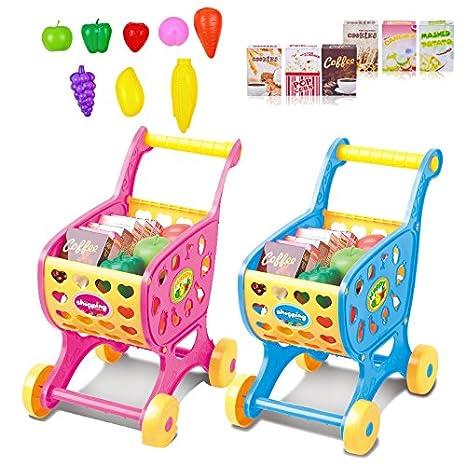HNBGY Único Carro de Compras de Juguete para bebé niño, Mini Carro de plástico de supermercado emulacional Modelo Carro de Carro Divertido supermercado de ...