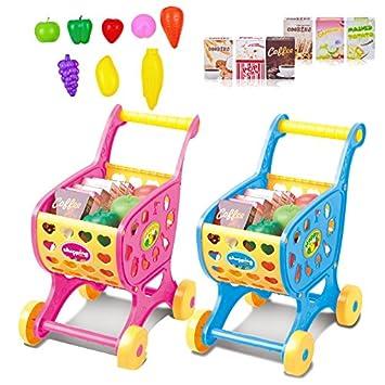 Gracioso Carro de compras de juguete para bebé niño, mini carro de plástico de supermercado emulacional Modelo carro de carro divertido supermercado de ...