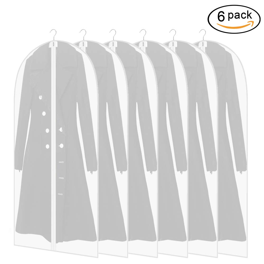 Garment Bags, Lightweight Dustproof Clear Suit Bag Moth Proof Full Zipper Breathable Long Garment Cover for Closet Clothes Storage and Travel Pack of 6 (24'' x 48'')