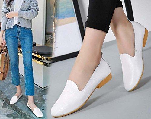 de de Coreanos de Salvajes de Zapatos y la Piel la Zapatos de Cómodos Nueva la Zapatos Moda Enfermera Cuero Suaves Zapatos Blanco Zapatos Mujer xStnpa