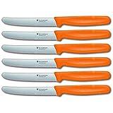 Victorinox Swiss Round Stainless Steel 4.5 Inch Steak Knife with Orange Fibrox Handle, Set of 6