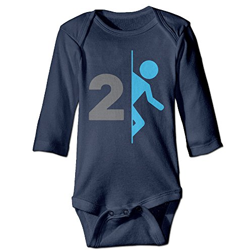 HYRONE Portal 2 Video Game Logo Baby Bodysuit Long Sleeve Climbing Clothes Size 18 Months Navy (Ps3 Tow Truck Games)