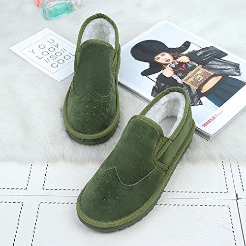 Damen Stiefel,Kingko® Frauen Warm gefüttert flache Schuhe Winter Casual Snow Ankle Boots Schuhe (Kleiner als sonst) Grün