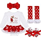 FEESHOW Baby Girl My First Christmas Tutu Outfit Dress Leg Warmer Shoes Headband White Red Stocking 6-9 Months