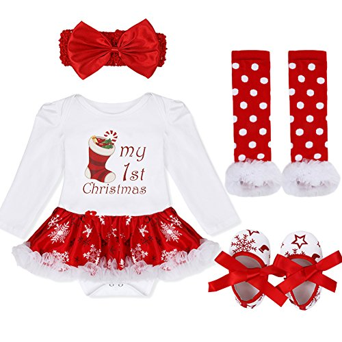 FEESHOW Newborn Infant Baby Girls Christmas Outfit Costumes Tutu Dress Romper Bodysuit Leg Warmer Set White Red Stocking 3-6 Months Babys 1st Christmas Outfit