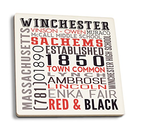 Winchester, Massachusetts - Typography (Set of 4 Ceramic Coasters - Cork-backed, Absorbent)