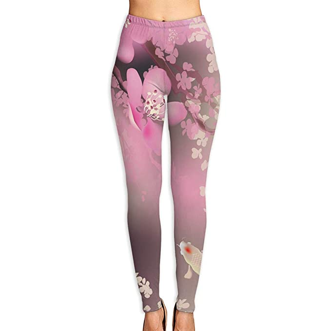 b0420f6b226a7 Amazon.com: Women's Pink Cherry Blossom Koi Printed Leggings Full-Length Yoga  Workout Leggings Pants Soft Capri: Clothing