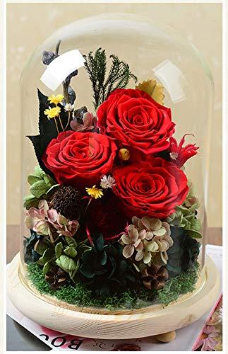 DerFel - 造花永遠の花 永遠の花ガラスカバーギフトボックスバレンタインギフト誕生日カラフルなライト永遠の花 - 8525 (Color : A) B07TJX2494 A