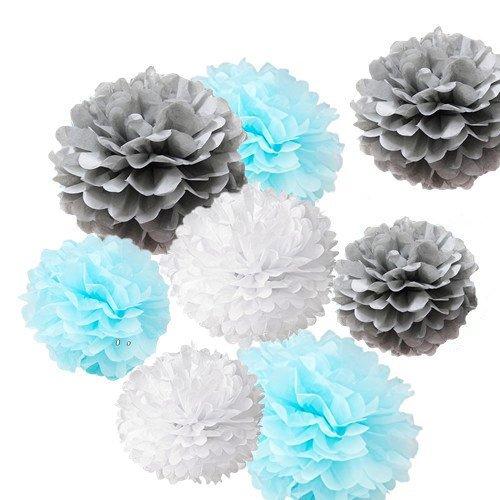 Fonder Mols 9Pcs Mixed Sizes 8 10 14 Tissue Paper Pom Poms Flower Wedding Party Baby Girl Room Nursery Decoration  White   Baby Blue   Gray