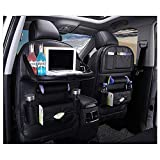 xrime Car seatback Organizer and Protector with Table Tray and iPad Holder High quality PU Leather Automobile Seat Organizer with Foldable Dining Table Tissue Box and Water Bottle Holder Great Travel Accessory for Kids black*1