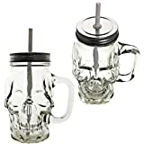 Novelty Glass Skull Face Drinking Mug Mason Jar with Glass Handles 16oz with Lids and Straws PACK OF 4