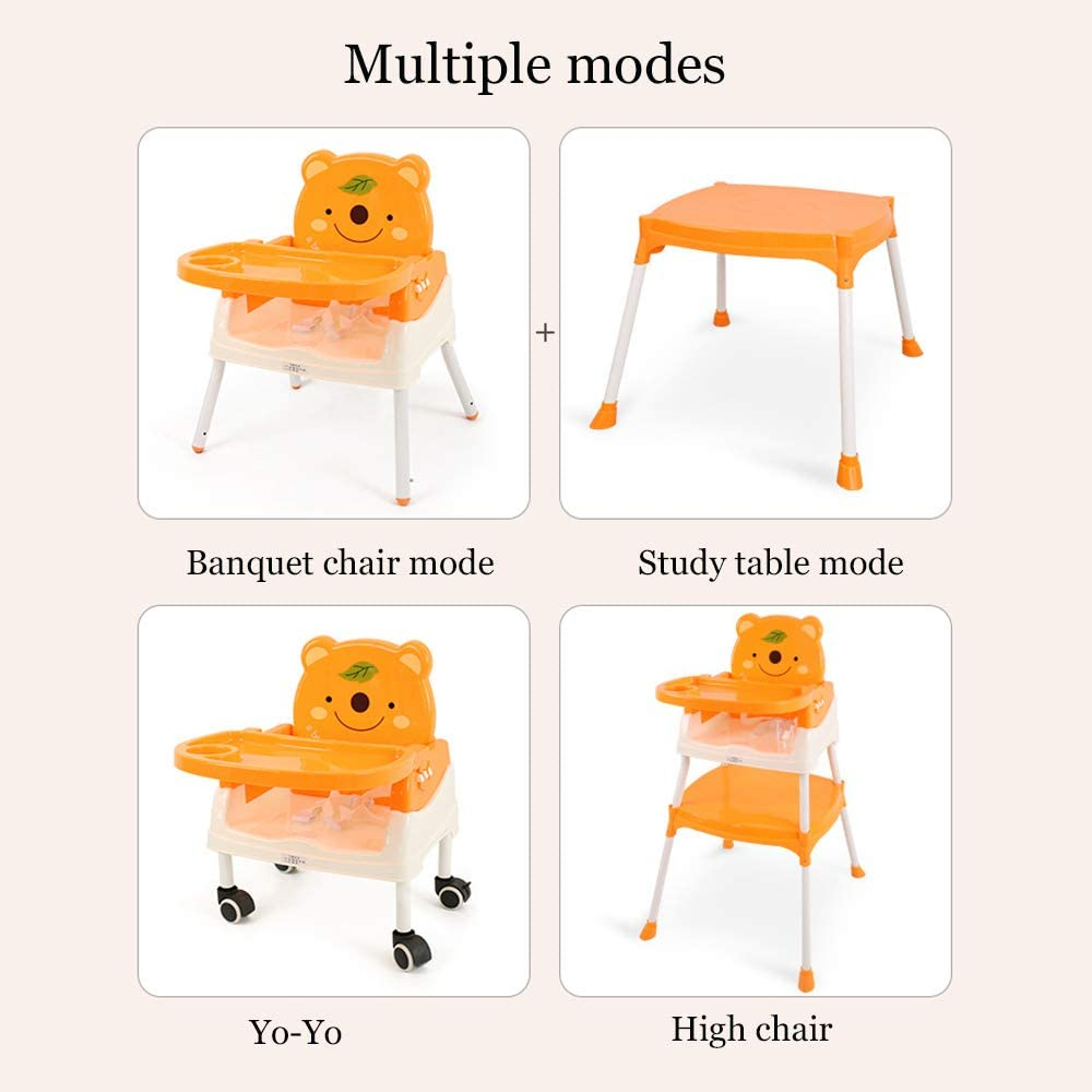 YXB Children's High Chair Children's Dining Chair Foldable