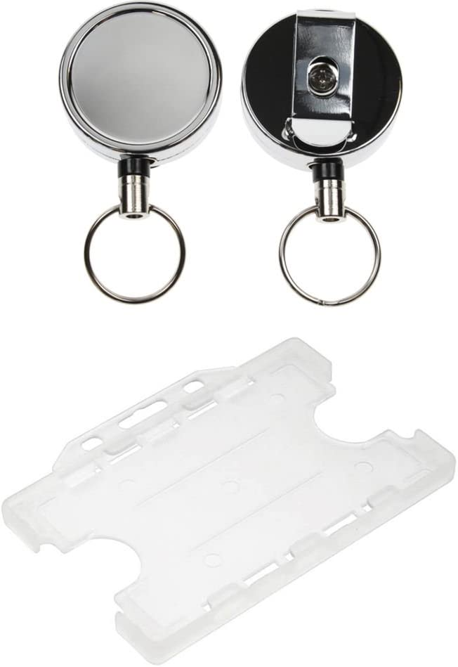 ID Card It Heavy Duty Nylon Cord ID Badge Reel Keyring and Double Clear ID Card Badge Holder 50