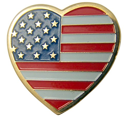 Patriotic Gold Tone Enameled United States Flag Lapel Pin, 7/8 Inch (Heart)