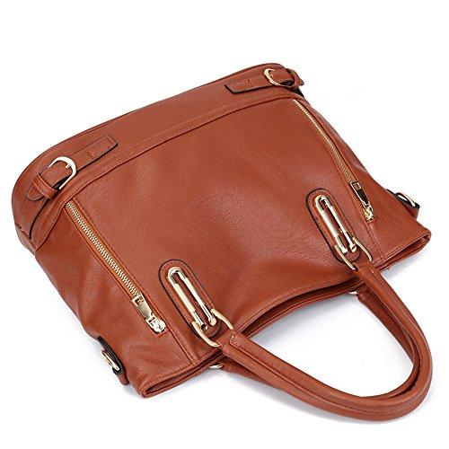 SHELI - Cartera de mano con asa de poliuretano para mujer marrón marrón Large