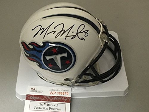 Autographed/Signed Marcus Mariota Tennessee Titans Football Mini Helmet JSA & GTSM COA Autographed Tennessee Titans Football