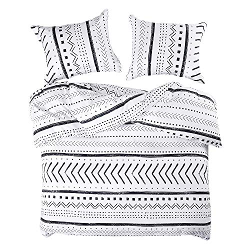 Wake In Cloud – Aztec Duvet Cover Set, 100% Cotton Bedding, Black and White Geometric Modern Pattern Printed, with Zipper Closure (3pcs, Queen Size)