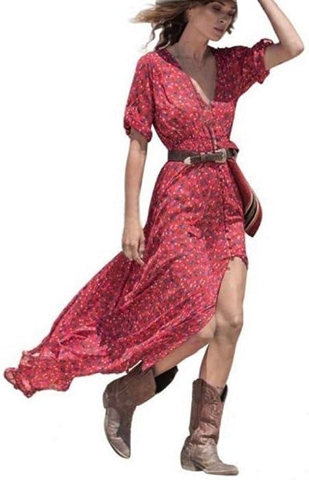 COOLIY Retro Rosso Gonna Lunga Abito da Sera Vestito Donna Sexy Party Dress Elegante  Fiori Carnevale Cerimonia da Sera Boemia Vestito Abito Tasca Donna ... 6835cc3f336