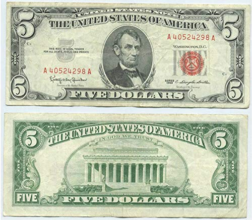 1963 No Mint Mark $5 Dollar Red Seal US Note $5 XF +