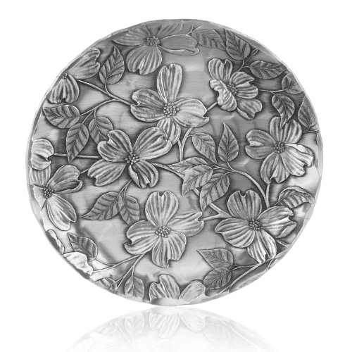 - Coaster, Dogwood, Hand-hammered Aluminum, Keeps Tabletops Safe, 4.5 Inch Round Coaster, Handmande in the USA by Wendell August Forge