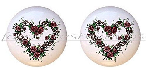SET OF 2 KNOBS - Heart Grapevine Roses - Flowers Plants Flower Bouquet Floral - DECORATIVE Glossy CERAMIC Cupboard Cabinet PULLS Dresser Drawer KNOBS (Outlets Grapevine)