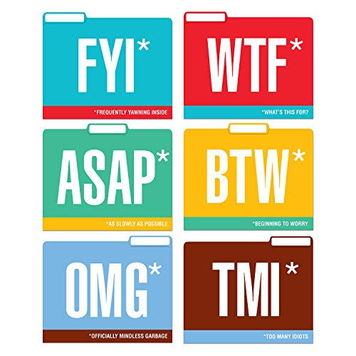 - Knock Knock Honest Acronyms File Folders Set, Funny Cubicle Décor (Set of 6, 11.5 x 9-inches)
