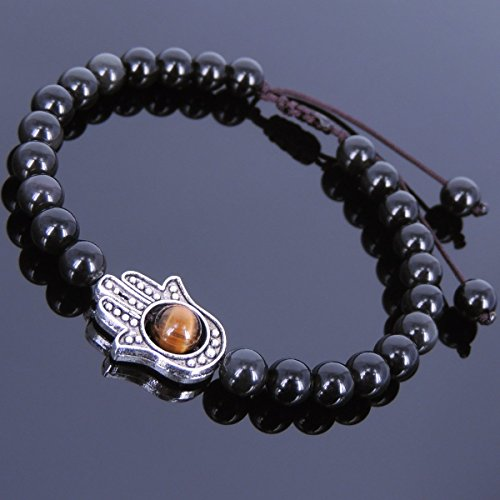 Braided Hamsa Bracelet - Men and Women Adjustable Braided Bracelet Handmade with Black Obsidian, Tiger Eye and No Lead & Nickle Tibetan Silver Hamsa Hand Charm
