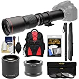 Vivitar 500mm f/8.0 Telephoto Lens with 2x Teleconverter (=1000mm) + Monopod + Backpack + Filters Kit for Olympus Pen/OM-D & Panasonic Lumix Micro Four Thirds Camera