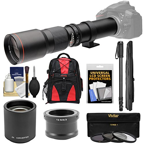 Vivitar 500mm f/8.0 Telephoto Lens with 2x Teleconverter (=1000mm) + Monopod + Backpack + Filters Kit for Olympus Pen/OM-D & Panasonic Lumix Micro Four Thirds - 3rds Olympus 4 Micro Camera