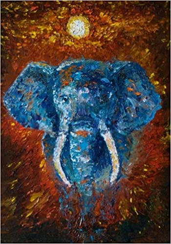 African Elephant Artwork Notebook with Inspirational and