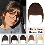Clip In On Bangs Human Hair Extension Medium Brown One Piece Remy Full Front Neat Air Fringe With Temple Thin Hand Tied Mini Flat Bangs Brazilian Hair For Women 25g (Neat Bangs,#04 Medium Brown)