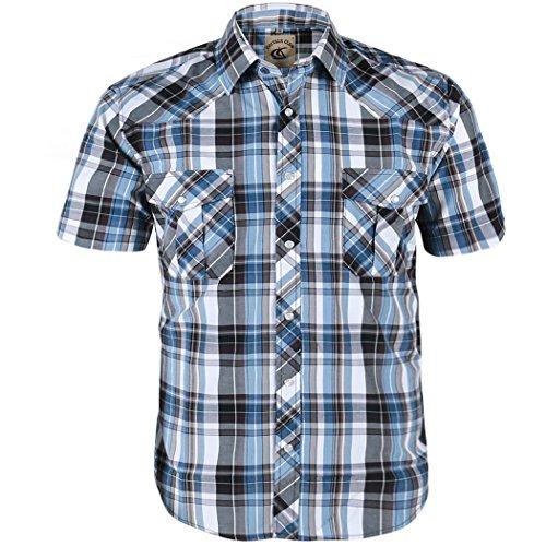 (Coevals Club Men's Snap Button Down Plaid Short Sleeve Work Casual Shirt (Light Blue & Gray #10,)