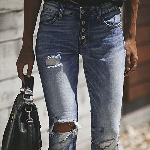 Femmes Bleu Haut Trou Veau Taille Stretch vas Slim Cowboy Pantalon la Jeans Coupe Pantalon Pantalon HauteSisit Jeans Denim Skinny Taille 0TYqSwH8