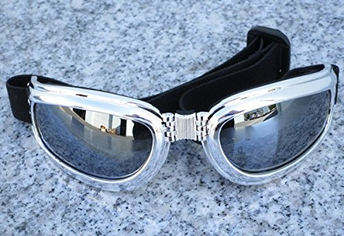 i5 Chrome Folding UV400 Padded Motorcycle Goggles for Harley Davidson Sportster Softail Dyna Road King Electra Tour Street Hydra Super Wide Glide Fat Boy ()
